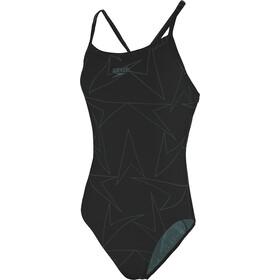 speedo Boomstar Allover Traje de Baño Turnback Mujer, black/oxid grey